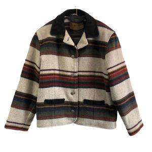 Woolrich | Vintage Aztec Striped Wool Leather Coat